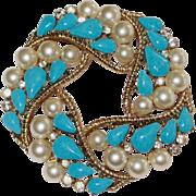 Trifari Faux Turquoise Faux Pearls Brooch