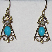 SALE Vintage Beautiful Turquoise Pearl Gold fill Earrings