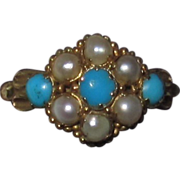 REDUCED Victorian 15K Gold Turquoise Pearls Ring