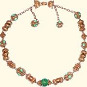 Vintage Vendome Green Ornate Necklace