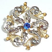 REDUCED Excellent Gold Pearls Victorian Pin Blue Stone