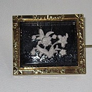 Reverse Carved and Painted Victorian Pin