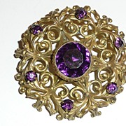 SALE Victorian Gilt Brass Brooch Purple Glass Stone