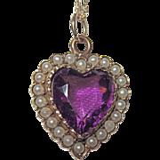 SALE Victorian Puffy Heart Charm Seed Pearls Purple