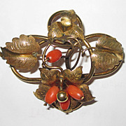REDUCED Victorian Coral Brooch