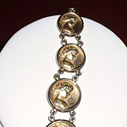 REDUCED Art Nouveau Gold Fill Fob Lady Faces
