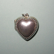 REDUCED Victorian Puffy Heart Sterling Locket Large