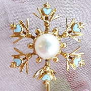 REDUCED Victorian Enamel and Pearl 14K Gold Stickpin