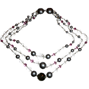 REDUCED All Glass Beads Wired Together Necklace Gorgeous