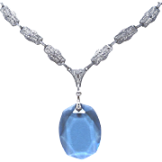 REDUCED Rhodium Plated Deco Filigree Necklace