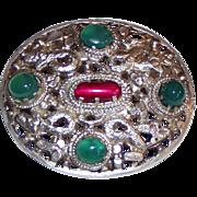 REDUCED Vintage Silver Chrysoprase Brooch