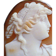 REDUCED 10K Gold Framed Carved Shell Cameo