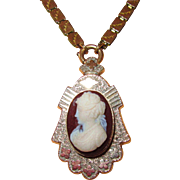 REDUCED Victorian Hardstone Cameo Pin or Pendant on Bookchain