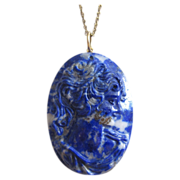 REDUCED Vintage Carved Lapis Cameo