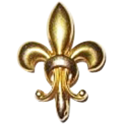 REDUCED 14K Victorian Watch Pin Puffy Fleur de Lis
