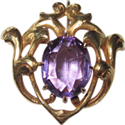REDUCED Antique Art Nouveau Watch Pin Amethyst
