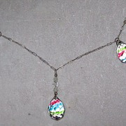 SALE Vintage Rainbow Striped Crystal Necklace with Earrings