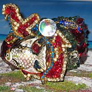 SALE PENDING Vintage Signed Wendy Gell Rhinestone Covered Cuff Bracelet