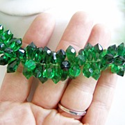 SALE West Germany Plastic Set Green Necklace and Earrings