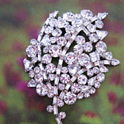 REDUCED Large Vintage Rhinestone Brooch Fit For a Bride