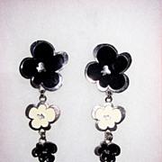 SALE Wild Black and White Enamel Clip Earrings