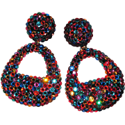 REDUCED Giant Runway Rhinestone Earrings Color Explosion