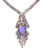 SALE Vintage Sparkling Rhinestone Necklace with Foiled Glass Stone