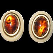 Vintage Yves St. Laurent Pierced Earrings Cream and Amber