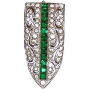 Excellent Art Deco Dress Clip Green White