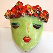 REDUCED Vintage Artist Green Enamel Mask Brooch Scarf Slide