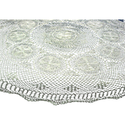 White Crocheted Lace Small Round Tablecloth