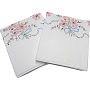 Pair of Pillowcases with Embroidered Pink Floral Bouquet