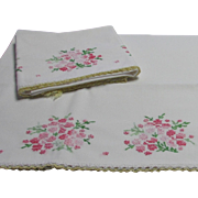 Pair of Embroidered Pillowcases with Lace Trim
