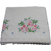 Embroidered Pillowcase with White Cotton Lace Trim