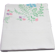 Delicately Embroidered Floral Design Pillowcase