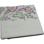 Pillowcase With Hand Embroidered Purple Flowers and Green Leaves