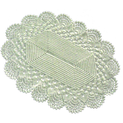 Crocheted White Oval Trivet with Scalloped Edges
