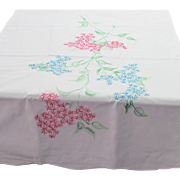 Hand Embroidered Pink and Blue Floral Design White Percale Pillowcase