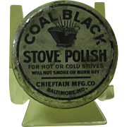 Coal Black Stove Polish 3 oz. Tin with Contents