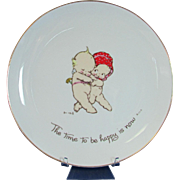 "Rose O'Neill Kewpie Plate ""The Time to Be Happy is Now""  Collector Plate"