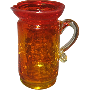 Amberina Crackle Blown Glass Pitcher