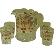 Mosser Cherry Thumbprint Miniature Pitcher and Four Glasses
