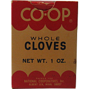 1960's CO-OP Brand Whole Cloves Box with Contents