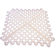 Crocheted Off White Square Table Topper Doily