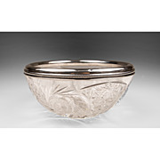 SALE American Brilliant Cut Glass Bowl With Sterling Collar
