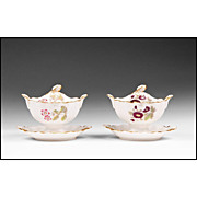SALE Pair of English Ridgway 19th C. Sauce Tureens With Fixed Stands & Covers