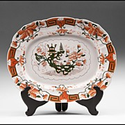 SALE 19th Century Japan Pattern Mason's Meat Platter, Dark Green Underglaze