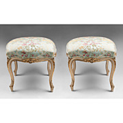 SALE Pr. of Mid 19th C. Louis XV Carved Polychrome Tabourets Or Stools