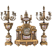 19th C. Bronze Mounted Sevres Jeweled Cobalt Ground 3 Piece Garniture, Clock With Matching ...