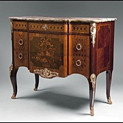 SOLD Late 19th C. Louis XV Floral Inlaid Bronze Mounted Commode